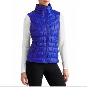 Athleta Downalicious Down Filled Puffer Vest Blue